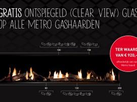 Gratis ontspiegeld glas op alle Dru Metro gashaarden