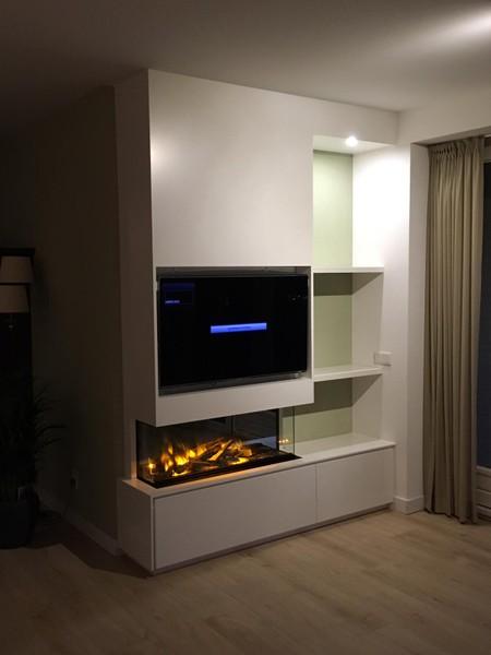 Elektrische haard met maatwerk meubel