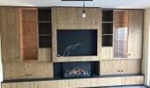 Elektrische haard met Eiken maatwerk meubel