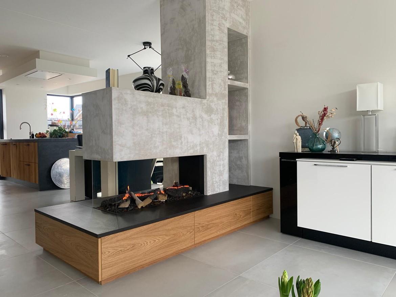 Elektrische haard in modern exclusief meubel